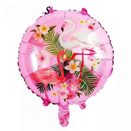 Balão Metalizado Flamingo Redondo 45 cm