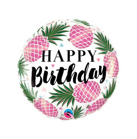 Balão Metalizado Happy Birthday Abacaxi Rosa 45 cm