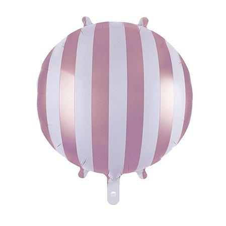Balão Metalizado Listrado Rosa 45 cm