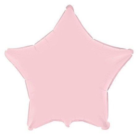 Balão Metalizado para Festas Estrela 45 cm Rosa Bebê 1 unid