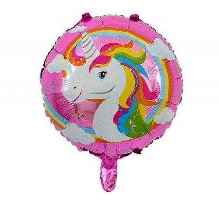 Balão metalizado Unicórnio Redondo 45 cm