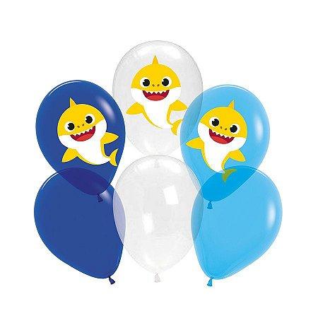 Balões de Aniversário Bexigas do Baby Shark pct com 12 unid