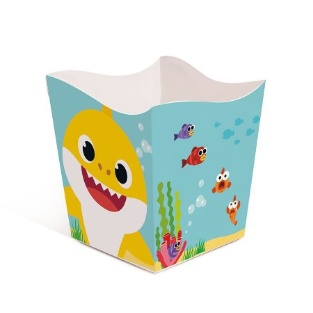 Cachepô para decoração de mesa de Festas Baby Shark com 8 unid