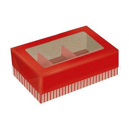Caixa para Doces Papel ECO 6 docinhos Vermelha Pct 5 unid