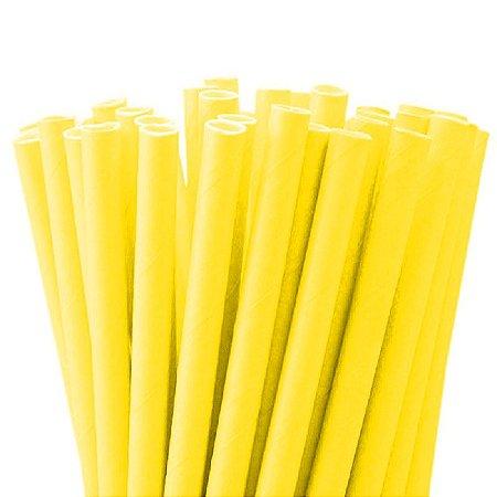 Canudo de Papel Descartável Liso Amarelo pct com 20 unid