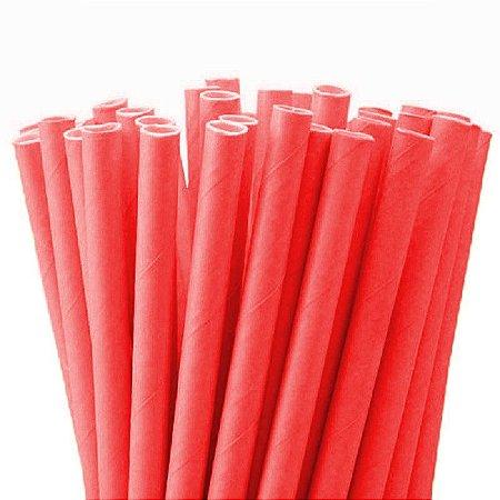 Canudo de Papel Descartável Liso Vermelho pct com 20 unid