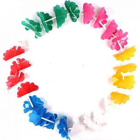 Colar Havaíano para Festas Plástico Simples kit com 12 unid
