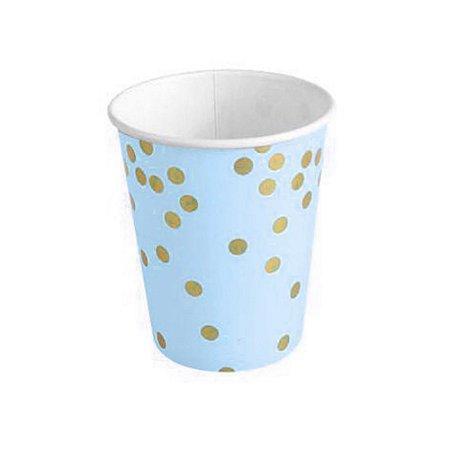Copo de Papel 270 ml Poa Azul e Dourado pacote com 10 unid