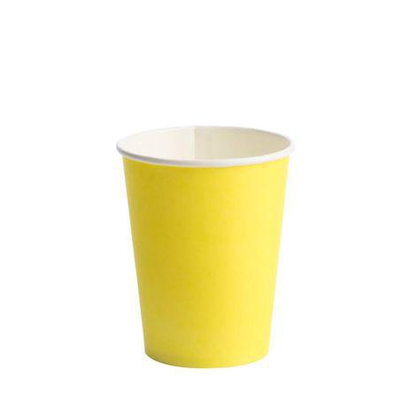 Copo de Papel Descartável 270 ml Liso Amarelo pacote c/ 10 unid