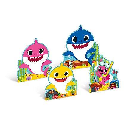 Decoração de Mesa de Festa tema Baby Shark kit com 4 unid