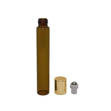 Frasco de Perfume Vazio Roll-on 10 ml âmbar de vidro Tampa Dourada kit com 10 unid
