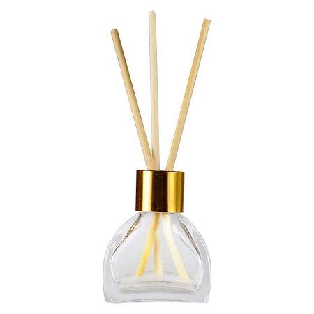 Frasco de Vidro para Aromatizador e Difusor 55 ml Tampa Luxo Dourada