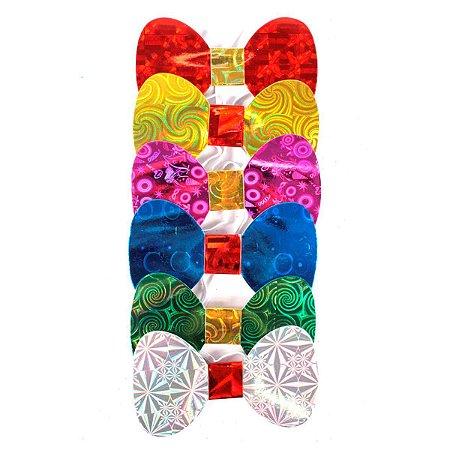 Gravata Borboleta para Festas Halográficas Reforçada kit com 8 unid