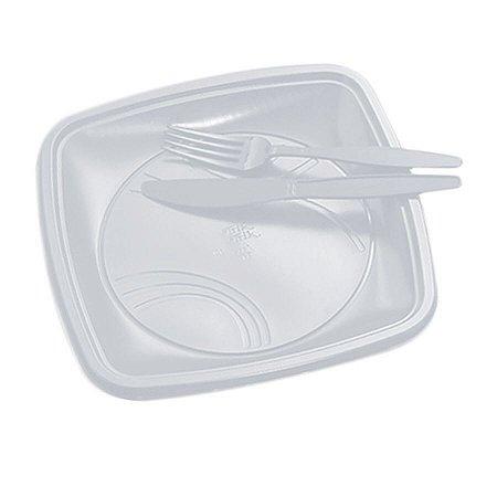 Kit Descartável para Churrasco com Talheres e Pratos Branco pct com 10