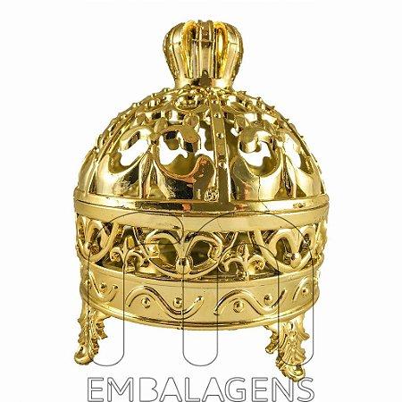 Porta Joia para Lembrancinhas Realeza de Coroa Dourado kit com 12 unid