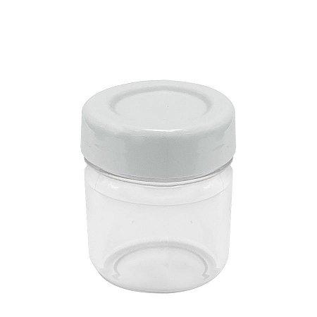 Potinho de Papinha de Plástico de 40 ml com tampa Branca kit com 10 unid