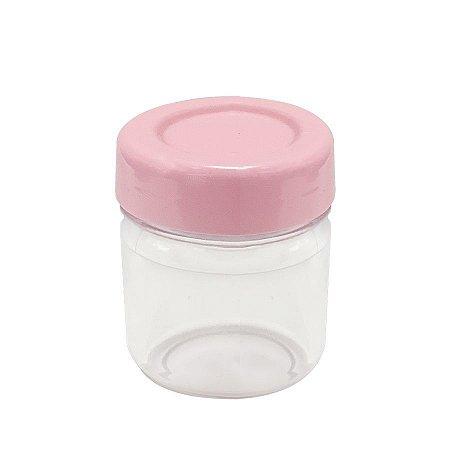 Potinho de Papinha de Plástico de 40 ml com tampa Rosa Bebê kit com 10 unid