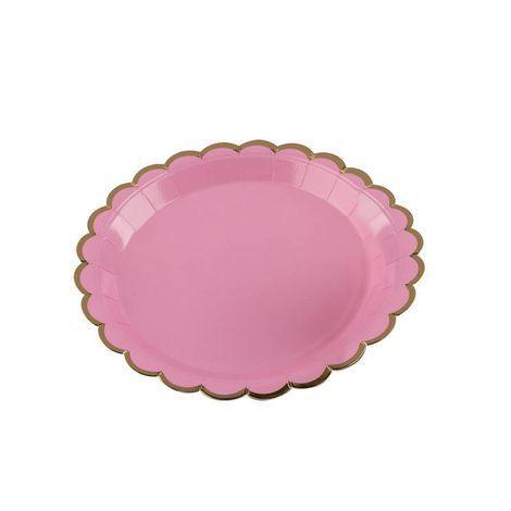 Pratos Descartáveis de papel Decorado Rosa e Dourado pct com 10 unid