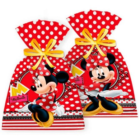 Sacola Surpresa para Lembrancinhas da Minnie kit com 8 unid