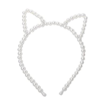 Tiara de Gatinho Luxo com Pérolas