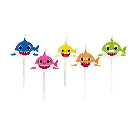 Vela de Aniversário 2D Baby Shark pct com 5 unid