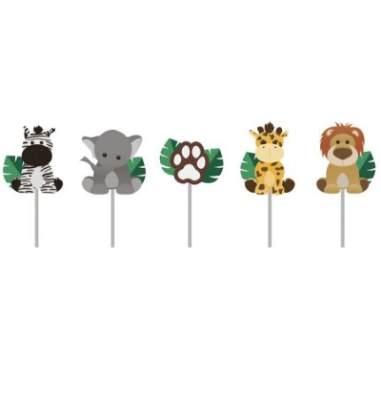 Vela de Aniversário 2D Safari pct com 5 unid