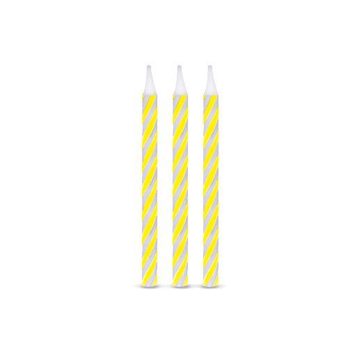Vela de Aniversário Espiral Amarela pct com 16 unid