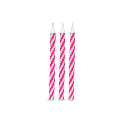 Vela de Aniversário Espiral Pink pct com 16 unid
