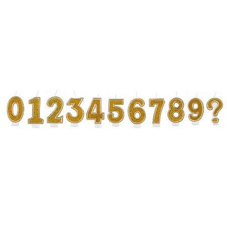 Vela de Aniversário Simples Número Glitter Dourado