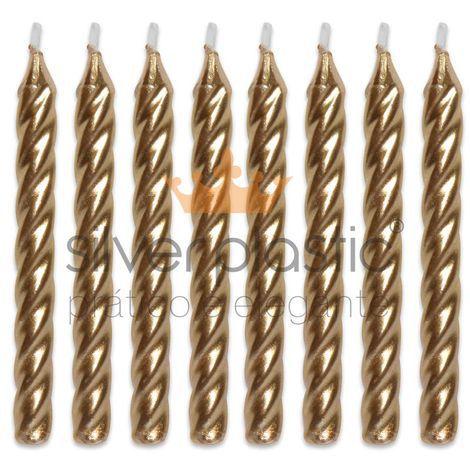 Vela Espiral dourada com 8  velas