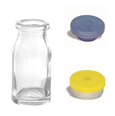 Frasco de Vidro Penicilina 10 ml com tampa flip off kit com 10 unid