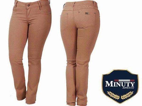 Calça Jeans Minuty Feminina Tradicional Marron