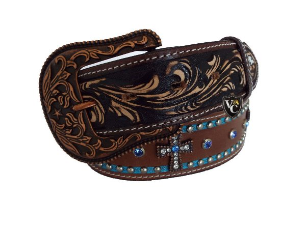 a0c9f2dab Cinto Masculino Arizona Belts Marrom Azul Cruz - Vitrine do Cowboy ...