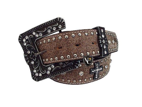 Cinto Feminino Arizona Belts De Couro Virado Cruz