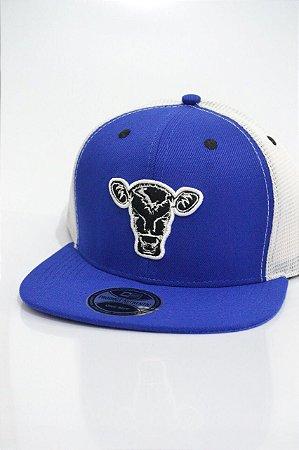 Boné Black Calf Snapback Azul Tela Branco - Vitrine do Cowboy - A ... 8175113656b