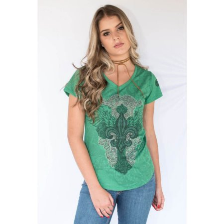 T-Shirt Miss Country Flor De Liz Verde