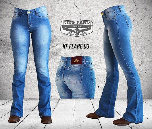 Calça Jeans King Farm Feminina Flare Delave KF03 - Vitrine do Cowboy ... 28f936b238e