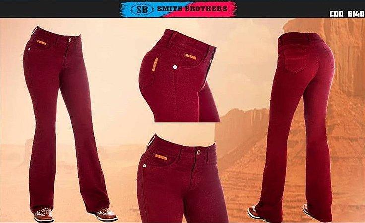 Calça Jeans Smith Brothers Fem. Flare Marsala B140