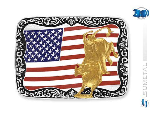 99649b37bc Fivela Touro Bandeira EUA Sumetal 9428F PD - Vitrine do Cowboy - A ...