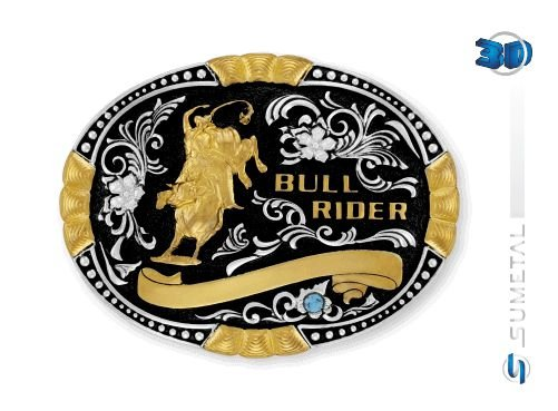 Fivela Bull Rider C/Strass Sumetal 9924Fj