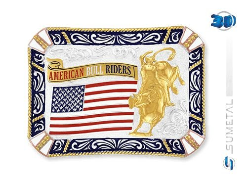 Fivela Touro Bandeira American Sumetal 9028F