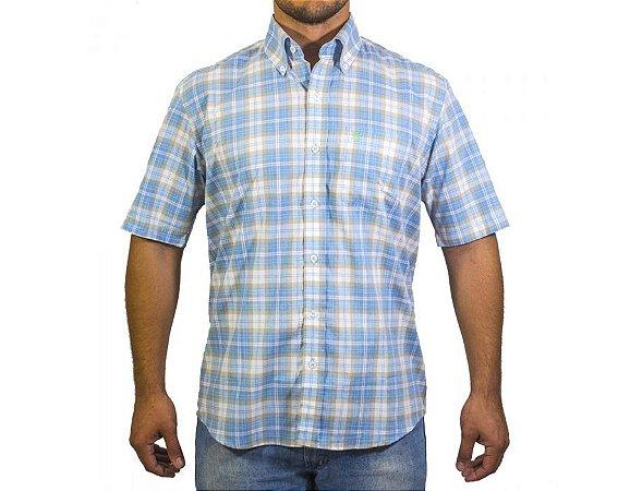 Camisa Tuff Masculina Azul e Beje 1045C