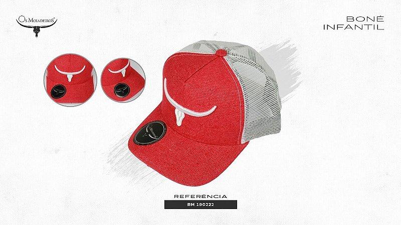 Boné Os Moiadeiros Vermelho Bordado Branco BM190222