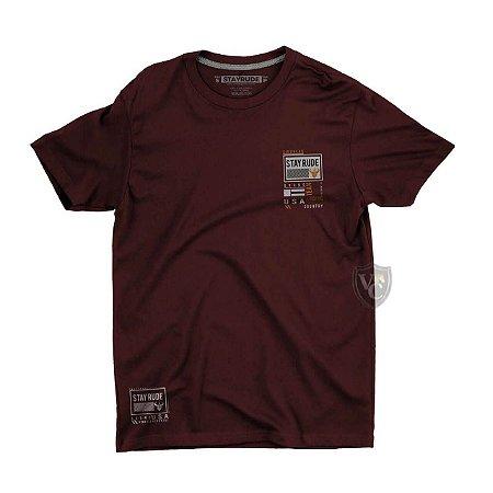 Camiseta Stay Rude Masculina Basica Bordo Stb003