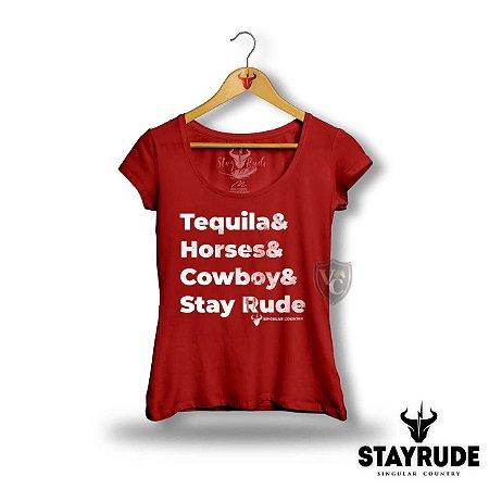 Camiseta Stay Rude Feminina Vermelho 2023