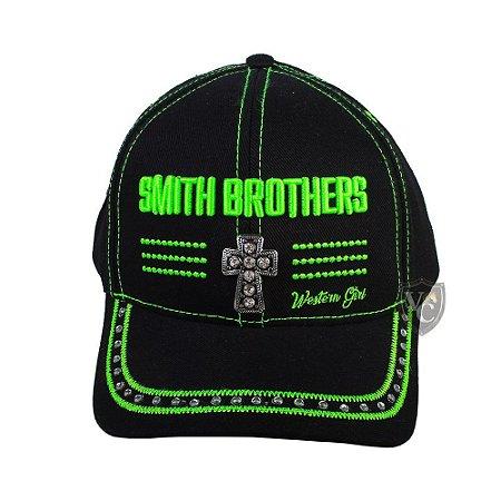 Bone Smith Brothers Preto E Verde Cruz