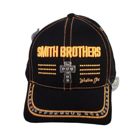 Bone Smith Brothers Cruz Preto e Laranja SBBN019