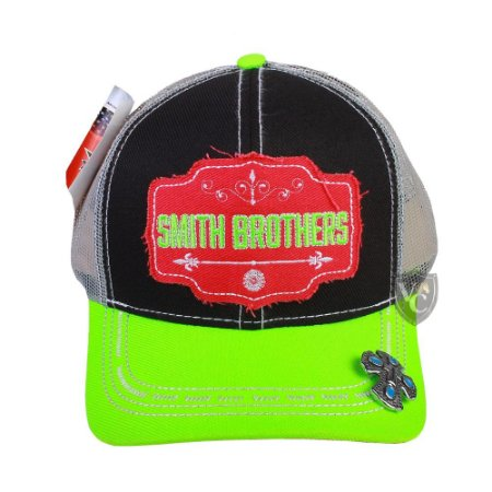 Bone Smith Brothers Preto Aba Verde Cruz