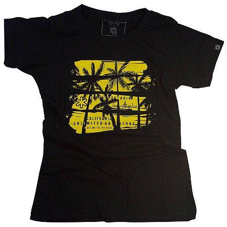 Camiseta Tuff Fem. Preta Mescla Silk Palm 1212
