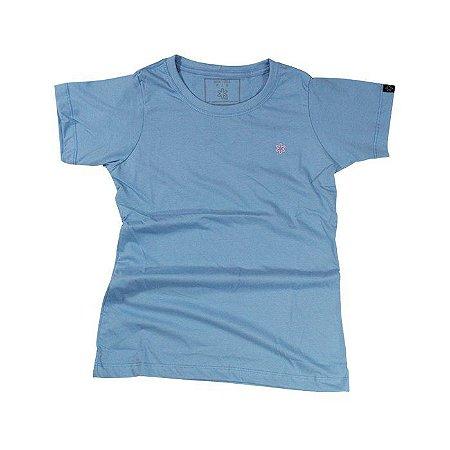 Camiseta Tuff Fem. Azul Bebe Logo Rosa 1287